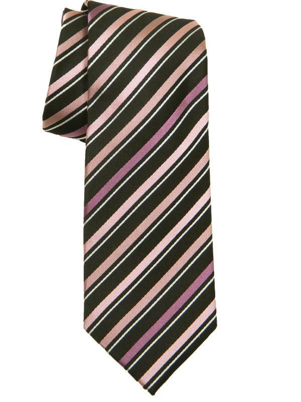 Heritage House 10638 100% Woven Silk Boy's Tie - Stripe - Pink/Black Boys Tie Heritage House
