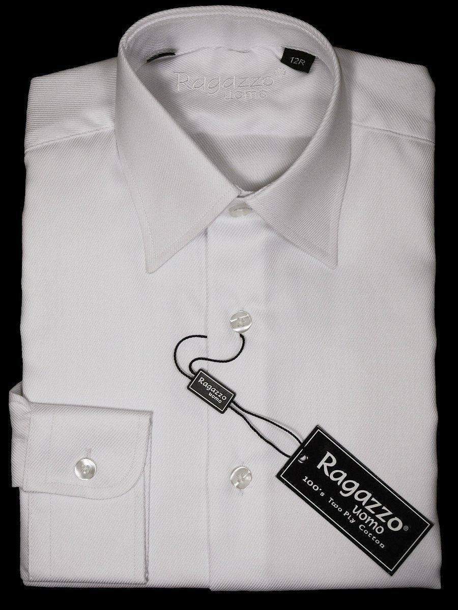 Ragazzo 10887 White Boy's Dress Shirt - Tonal Diagonal Weave - 100% Cotton Boys Dress Shirt Ragazzo
