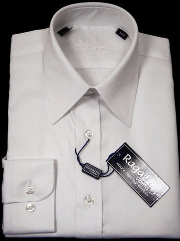 Image of Ragazzo 10887 White Boy's Dress Shirt - Tonal Diagonal Weave - 100% Cotton Boys Dress Shirt Ragazzo