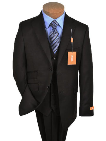 Image of Tallia 11264 Black Boy's Suit - Solid Gabardine - 100% Tropical Worsted Wool - Lined Boys Suit Tallia