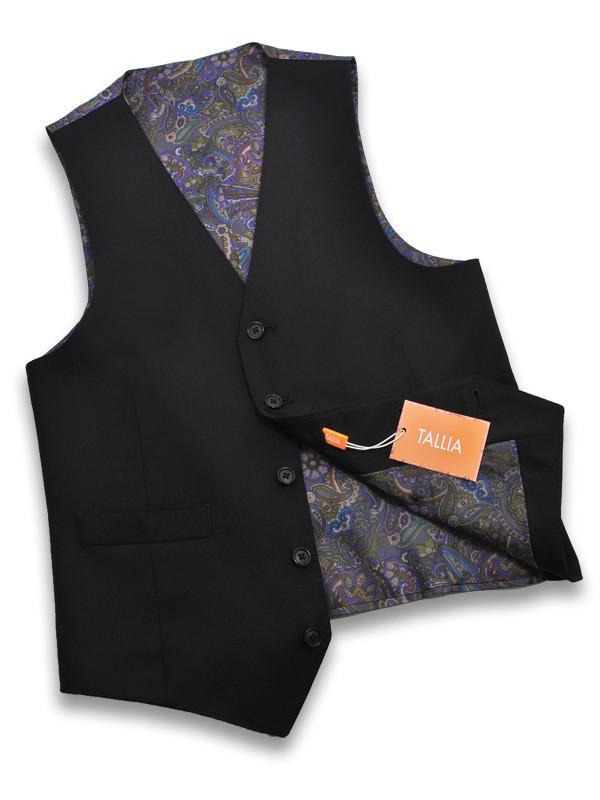 Tallia 11264V Black Boy's Vest - Sold Gabardine - 100% Tropical Worsted Wool Boys Vest Tallia