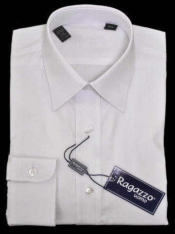 Ragazzo 11338 100% Cotton Boy's Dress Shirt - Solid Broadcloth - White Boys Dress Shirt Ragazzo
