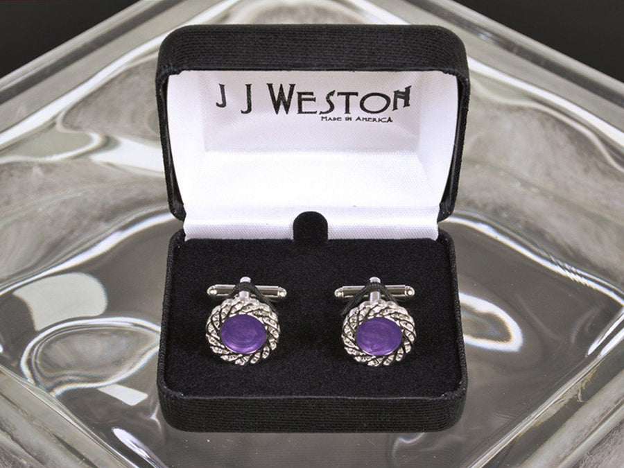 Boy's Cuff Links 11528 Purple/Silver Boys Cufflinks JJ Weston