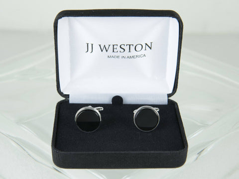 Boy's Cuff Links 11532 Silver/Black Boys Cufflinks JJ Weston