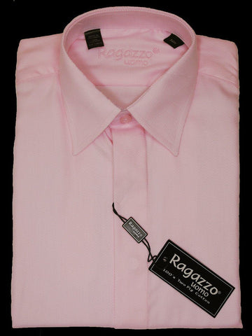 Image of Ragazzo 11808 Pink Boy's Dress Shirt - Tonal Diagonal Weave - 100% Cotton Boys Dress Shirt Ragazzo