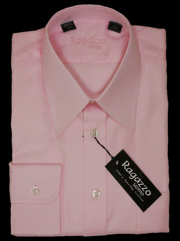 Ragazzo 11808 Pink Boy's Dress Shirt - Tonal Diagonal Weave - 100% Cotton Boys Dress Shirt Ragazzo