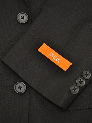 Image of Tallia 11832 70% Wool/ 30% Polyester Boy's 2-Piece Suit - Tonal Stripe - Black, 2-Button Single Breasted Jacket, Plain Front Pant Boys Suit Tallia