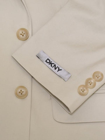 Image of DKNY 11915 100% Cotton Boy's 2-Piece Suit - Poplin - Stone, 2-Button Single Breasted Jacket, Plain Front Pant Boys Suit DKNY