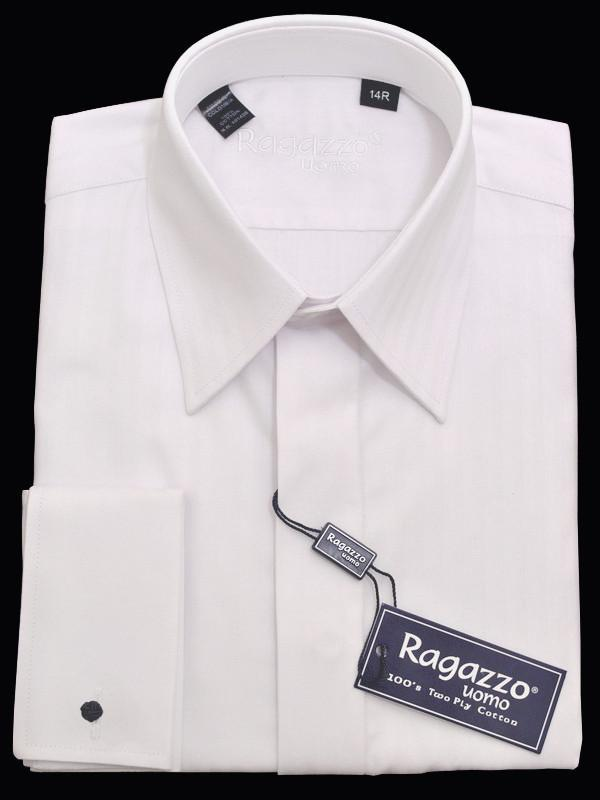 Ragazzo 12012 French Cuff Boy's Dress Shirt - Tonal Stripe - White, Long Sleeve Boys Dress Shirt Ragazzo