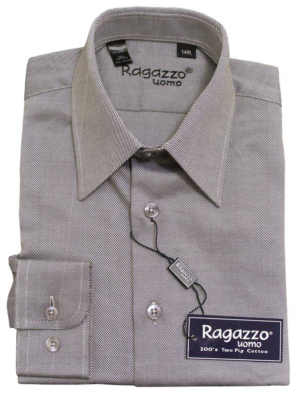 Ragazzo 12019 100% Cotton Boy's Dress Shirt - Diagonal Tonal Weave - Sterling, Long Sleeve