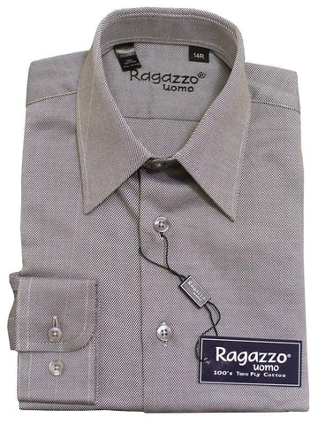 Ragazzo 12019 100% Cotton Boy's Dress Shirt - Diagonal Tonal Weave - Sterling, Long Sleeve Boys Dress Shirt Ragazzo