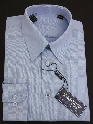 Ragazzo 12251 Sky Blue Boy's Dress Shirt - Tonal Diagonal Weave - 100% Cotton from Boys Dress Shirt Ragazzo