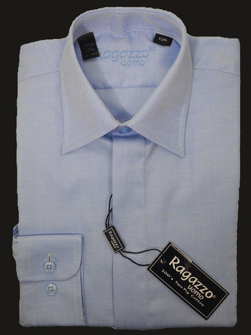 Image of Ragazzo 12251 Sky Blue Boy's Dress Shirt - Tonal Diagonal Weave - 100% Cotton from Boys Dress Shirt Ragazzo
