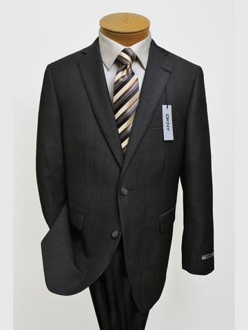 Image of DKNY 12501 70% Tropical Worsted Wool / 30% Polyester Boy's 2-Piece Suit - Tonal Stripe - Grey, 2-Button Single Breasted Jacket, Plain Front Pant Boys Suit DKNY
