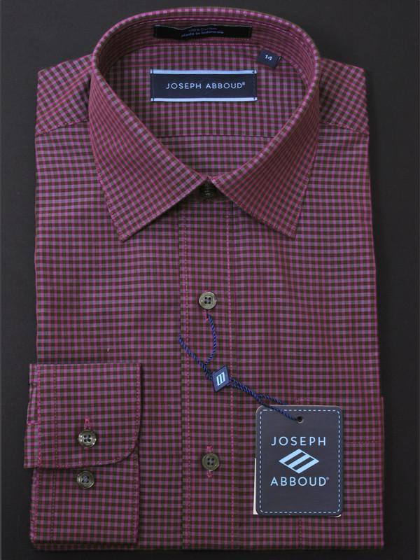 Boy's Dress Shirt 12569 Plum/Charcoal Check Boys Dress Shirt Joseph Abboud