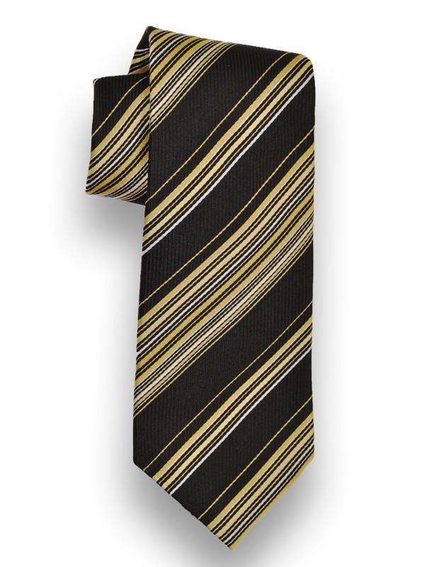 Heritage House 13281 100% Woven Silk Boy's Tie - Stripe - Black/Gold Boys Tie Heritage House