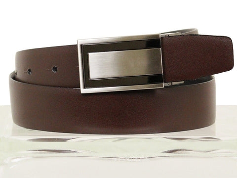 Image of Paul Lawrence 13470 100% leather Boy's Belt - Glazed calf - Black / Brown, Two-tone Slide through Buckle Boys Belt Paul Lawrence