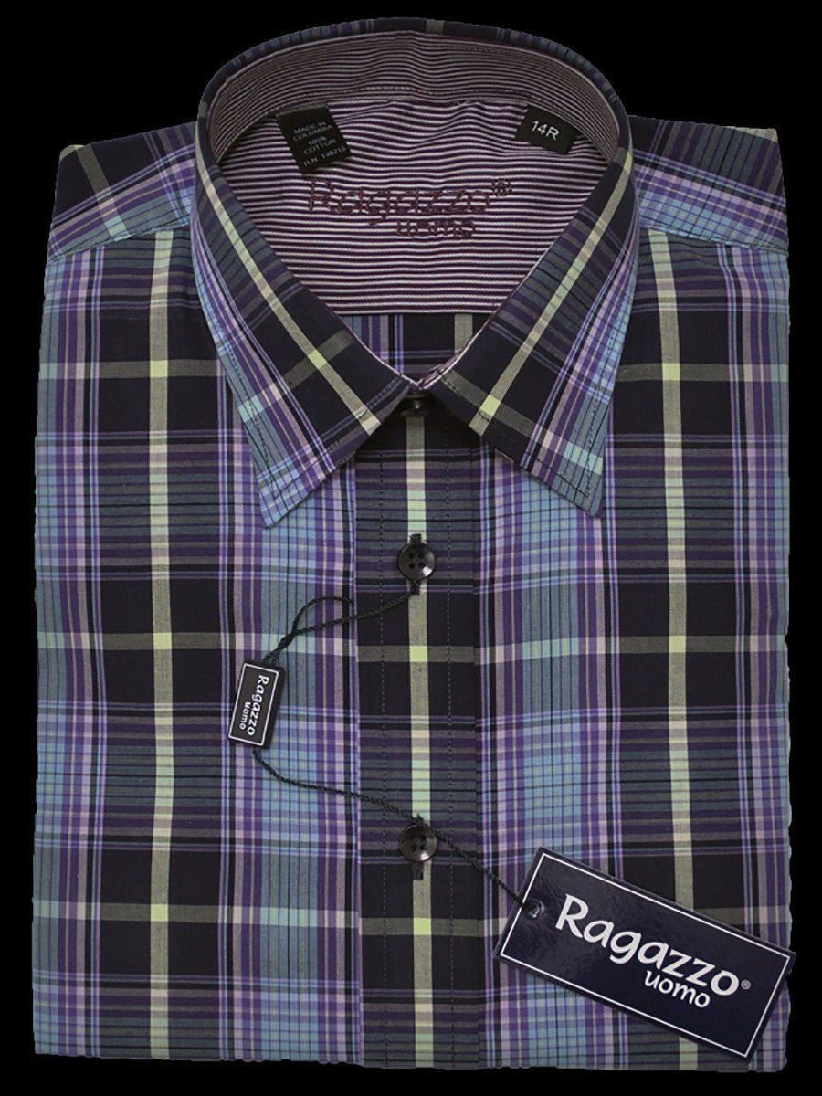 Boy's Sport Shirt 13794 Violet Plaid Boys Dress Shirt Ragazzo