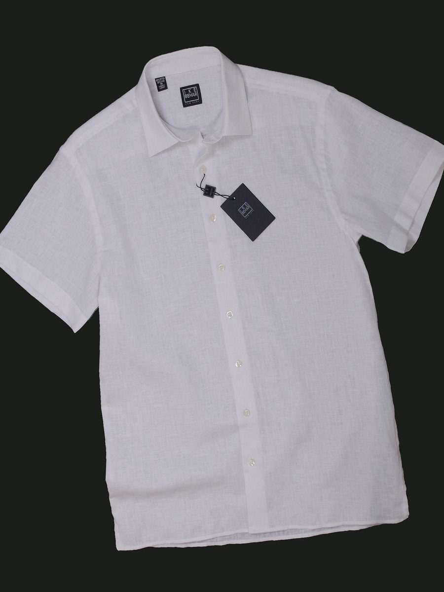Boy's Sport Shirt 13899 White Linen Boys Sport Shirt Ike Behar