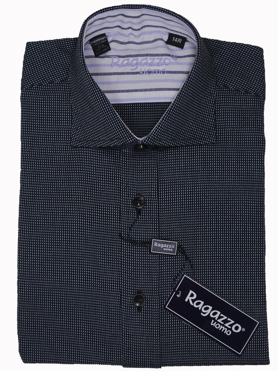 Boy's Dress Shirt 14064 Grey Birdseye Boys Dress Shirt Ragazzo