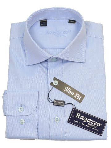 Ragazzo 14085 Sky Blue Slim Fit Boy's Dress Shirt - Tonal Diagonal Weave - 100% Cotton