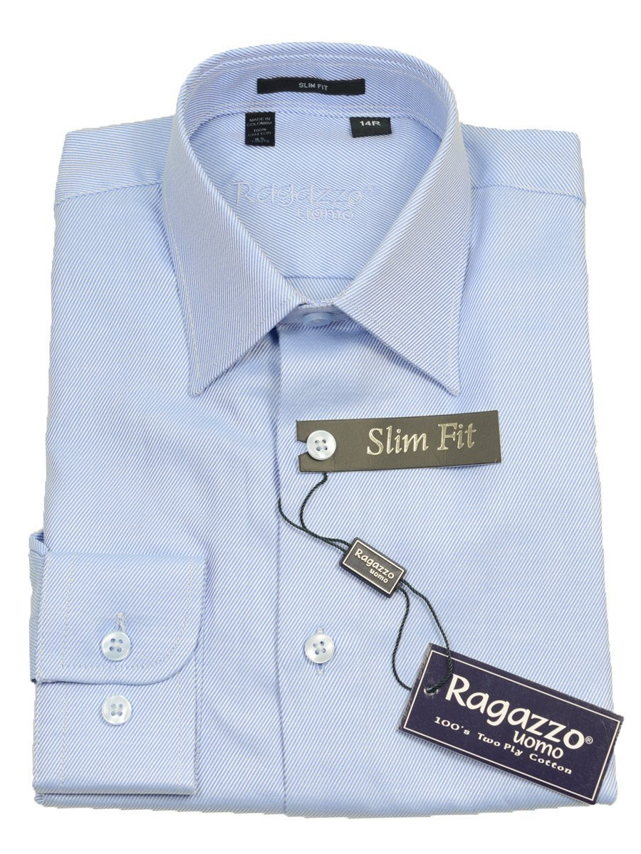 Ragazzo 14085 Sky Blue Slim Fit Boy's Dress Shirt - Tonal Diagonal Weave - 100% Cotton Boys Dress Shirt Ragazzo 8 SLIM Sky Blue MODIFIED SPREAD COLLAR (right)
