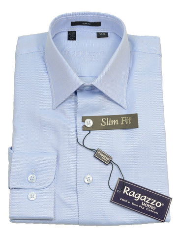 Image of Ragazzo 14085 Sky Blue Slim Fit Boy's Dress Shirt - Tonal Diagonal Weave - 100% Cotton Boys Dress Shirt Ragazzo 8 SLIM Sky Blue MODIFIED SPREAD COLLAR (right)