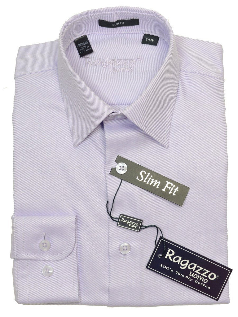 Ragazzo 14092 100% Cotton Boy's Slim Fit Dress Shirt - Tonal Diagonal Weave - Lavender, English (or Modified) Spread Collar Boys Dress Shirt Ragazzo