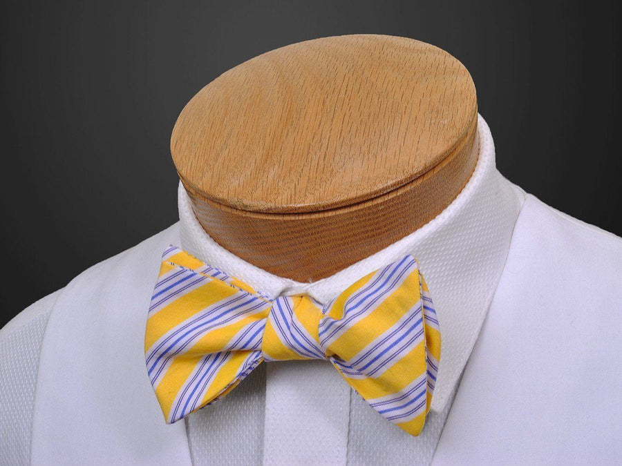 High Cotton 14105 Yellow/Blue Boy's Self-Tie Bowtie - Stripe - 100% Cotton - Adjustable Neck Band Boys Bow Tie High Cotton