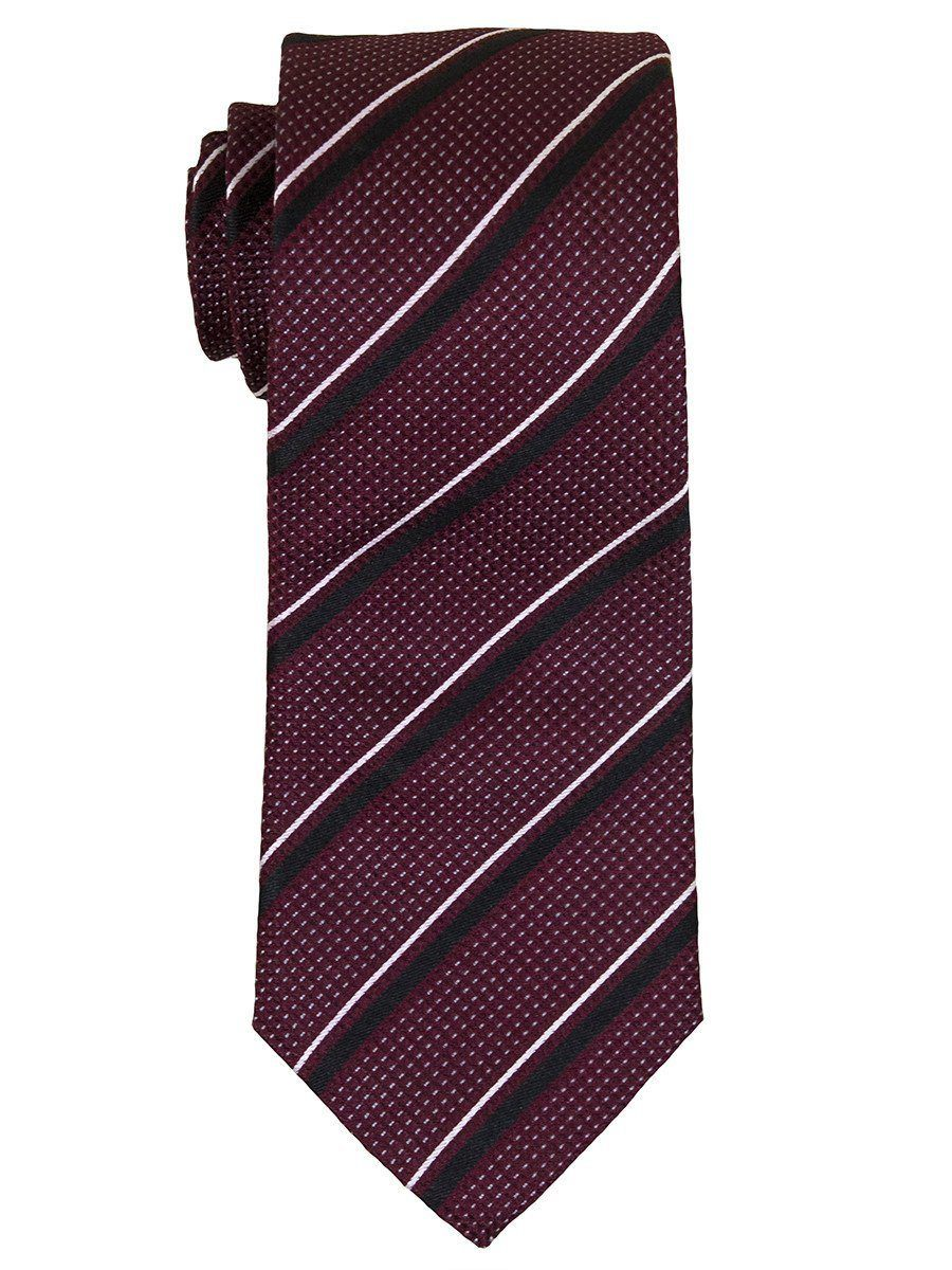 Heritage House 14447 100% Woven Silk Boy's Tie - Stripe - Burgundy/Black Boys Tie Heritage House