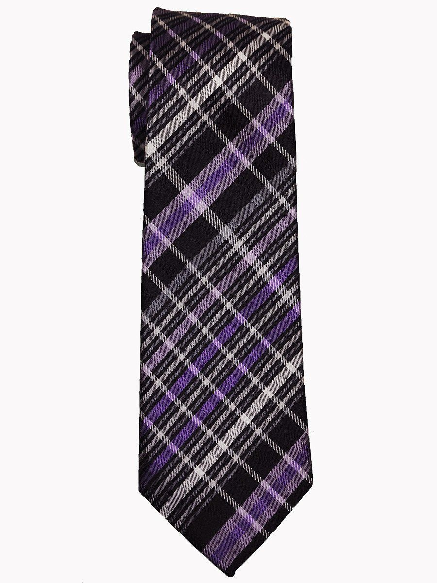 Heritage House 14469 100% Woven Silk Boy's Tie - Plaid - Black/Purple/Grey Boys Tie Heritage House