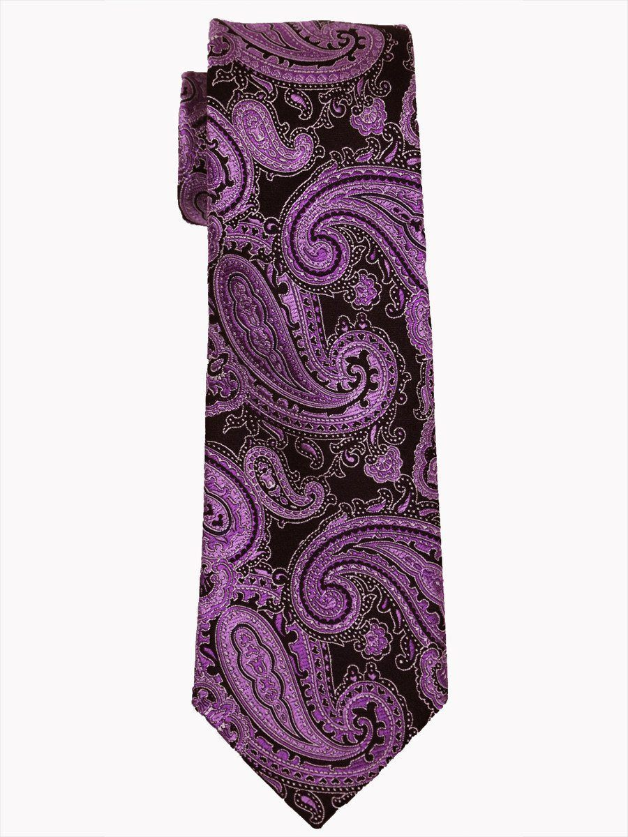 Heritage House 14480 100% Woven Silk Boy's Tie - Paisley - Black/Purple Boys Tie Heritage House