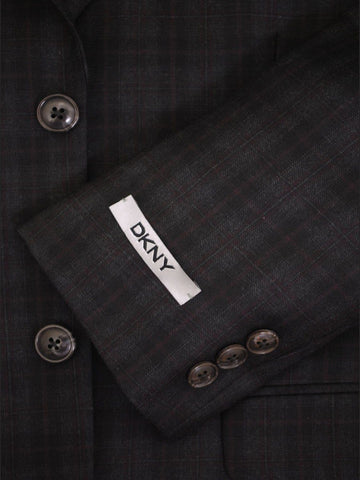 Image of DKNY 14660 Black Boy's Sport Coat - Plaid -100% Tropical Worsted Wool Boys Sport Coat DKNY