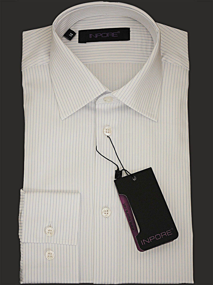 Inpore Boy's Dress Shirt 14897 White/Blue Stripe Boys Dress Shirt Inpore