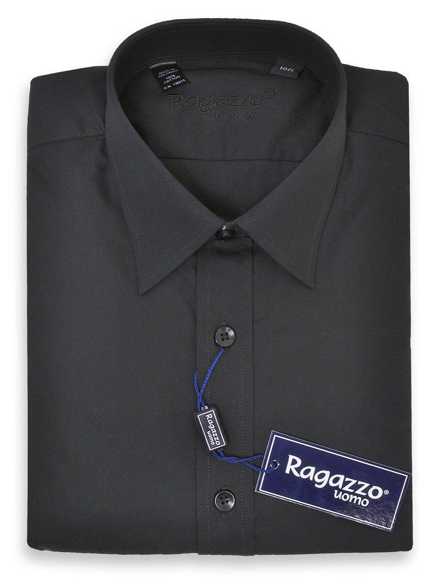 Ragazzo 1526 100% Cotton Boy's Dress Shirt - Solid Broadcloth - Black Boys Dress Shirt Ragazzo