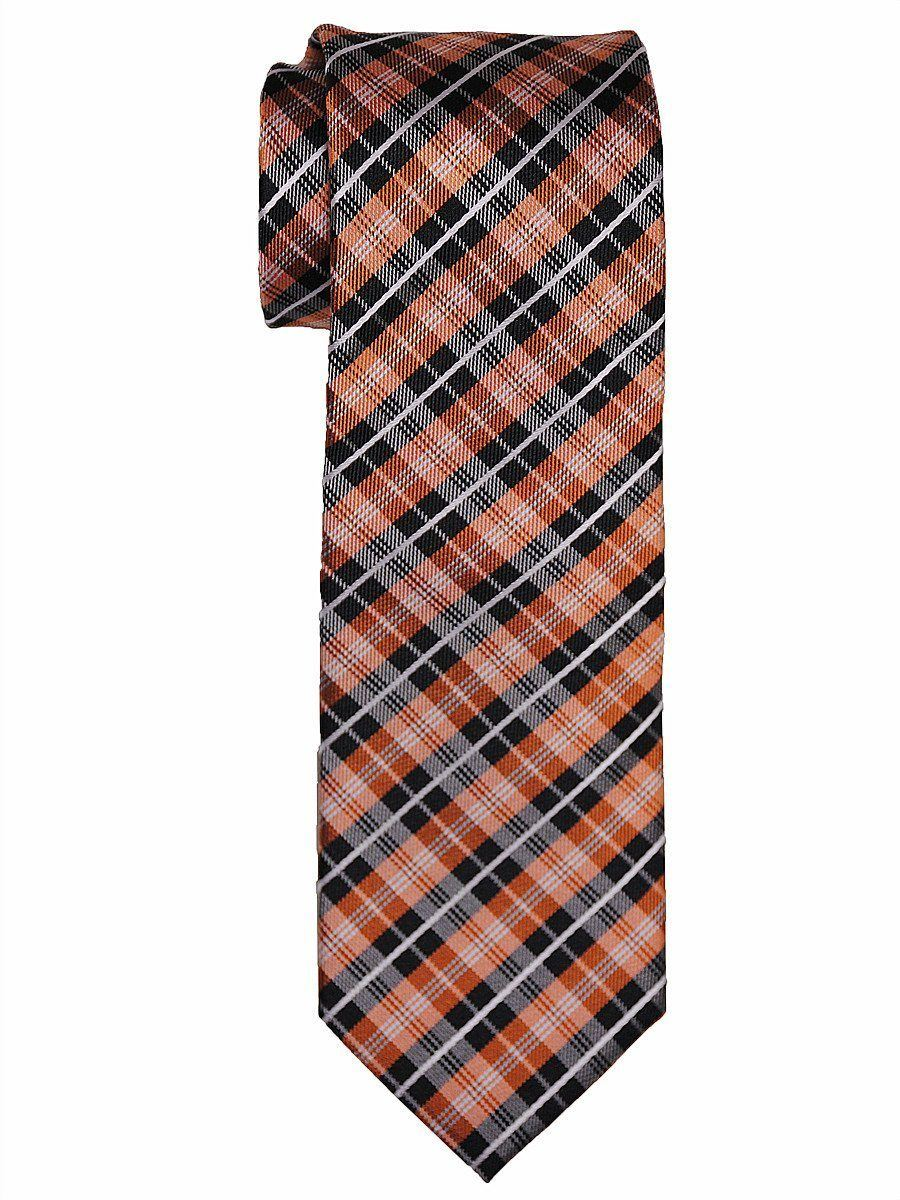 Heritage House 15345 100% Woven Silk Boy's Tie - Plaid - Orange/Black Boys Tie Heritage House