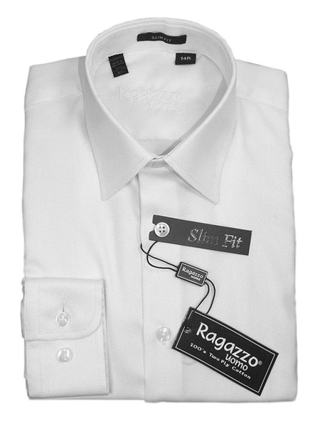 Ragazzo 15912 White Slim Fit Boy's Dress Shirt - Diagonal Tonal Weave - 100% Cotton - English (or modified) Spread Collar - Button Cuff