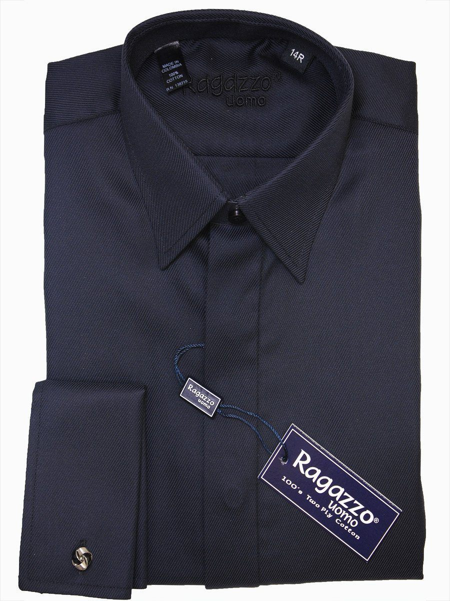 Ragazzo 15940 Black Boy's French Cuff Dress Shirt - Diagonal Tonal Weave - 100% Cotton - Hidden Placket Boys Dress Shirt Ragazzo