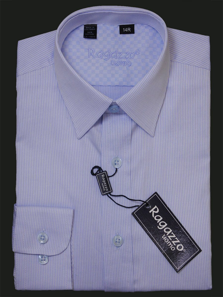 Ragazzo 15947 100% Cotton Boy's Dress Shirt - Stripe - Blue Boys Dress Shirt Ragazzo