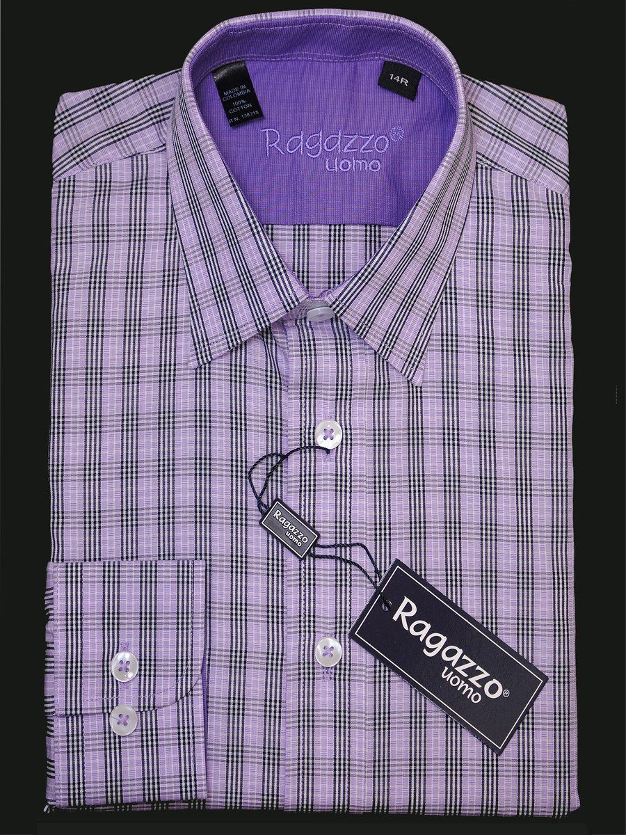Ragazzo 15961 100% Cotton Boy's Dress Shirt - Plaid - Lavender and black, Long Sleeve Boys Dress Shirt Ragazzo