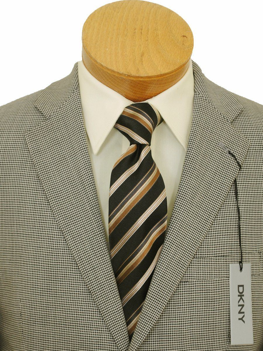DKNY 16008 Ecru/Black Boy's Sportcoat - Houndstooth - 80% Tropical Worsted Wool / 20% Silk - Lined Boys Sport Coat DKNY