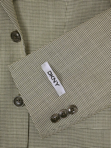 Image of DKNY 16008 Ecru/Black Boy's Sportcoat - Houndstooth - 80% Tropical Worsted Wool / 20% Silk - Lined Boys Sport Coat DKNY