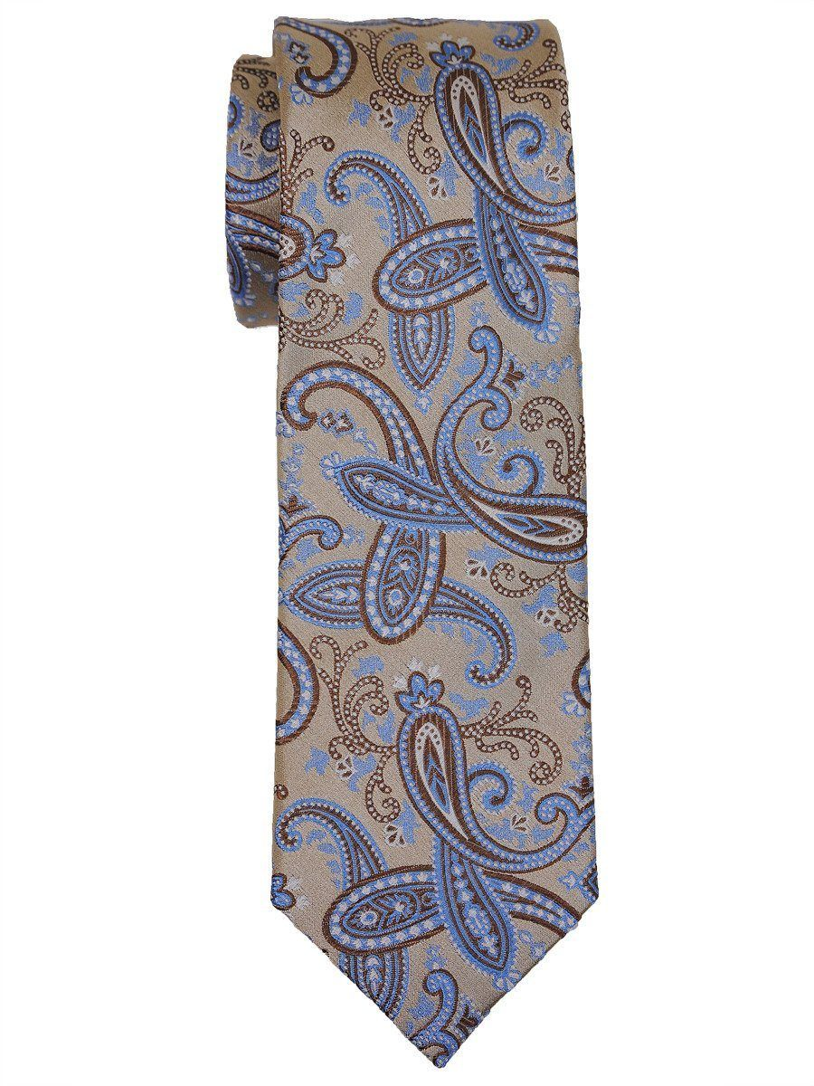 Heritage House 16065 100% Woven Silk Boy's Tie - Paisley - Tan/Blue Boys Tie Heritage House