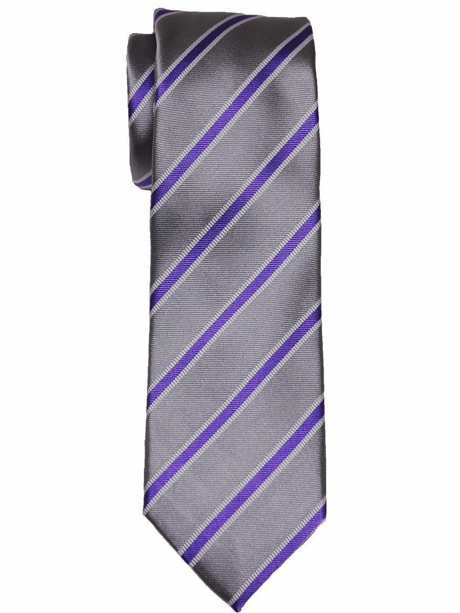 Heritage House 16071 100% Woven Silk Boy's Tie - Stripe - Silver/Purple Boys Tie Heritage House