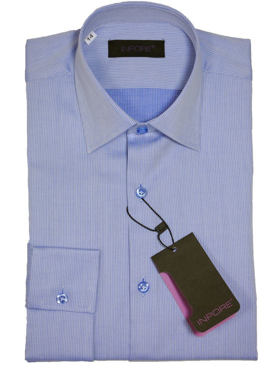 Inpore Boy's Dress Shirt 16317 Blue Boys Dress Shirt Inpore