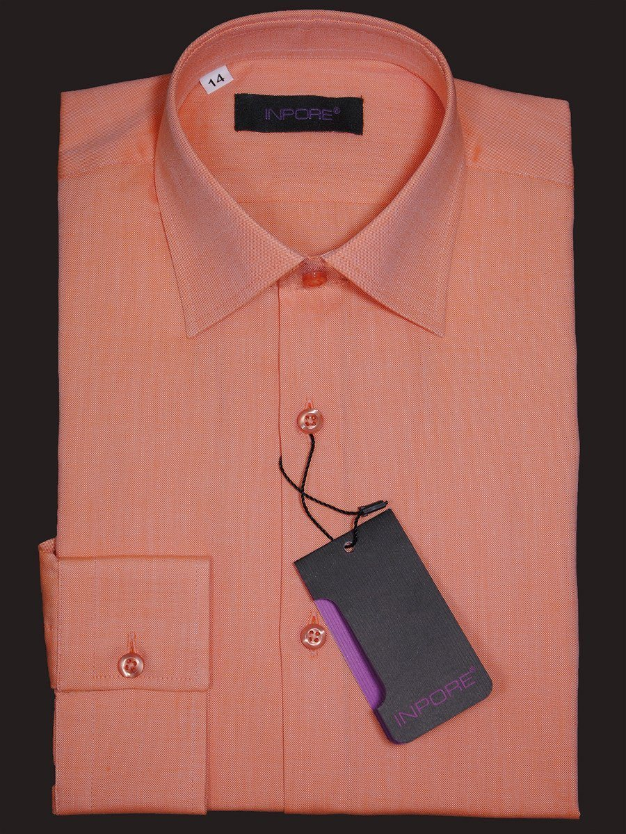 Inpore 16324 100% Cotton Boy's Dress Shirt - Weave - Orange, Contemporary Slim Fit Boys Dress Shirt Inpore