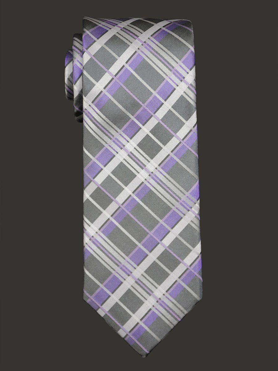 Heritage House 16440 Grey/Purple Boy's Tie - Plaid - 100% Silk Woven - Wool Blend Lining Boys Tie Heritage House