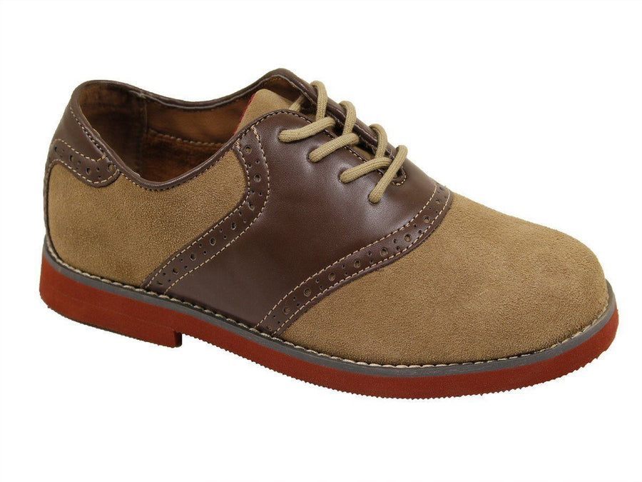 Florsheim 16529 Genuine leather and synthetic Boy's Dress Shoes - Saddle Oxford - Sand / Brown, Lace-up Boys Shoes Florsheim