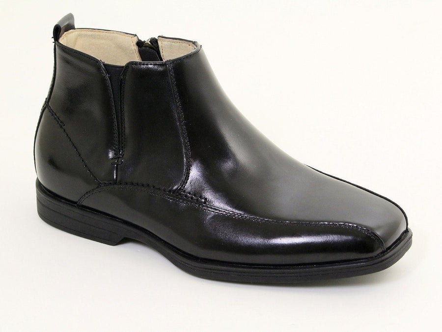 Florsheim 16545 Black Boy's Dress Shoes- Half Boot - Bicycle Toe - Leather - Side Zipper Closure Boys Shoes Florsheim