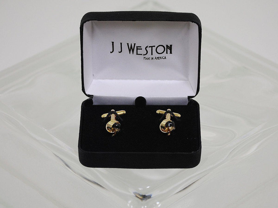Boy's Cuff links 16575 Gold/Black Boys Cufflinks J.J. Weston